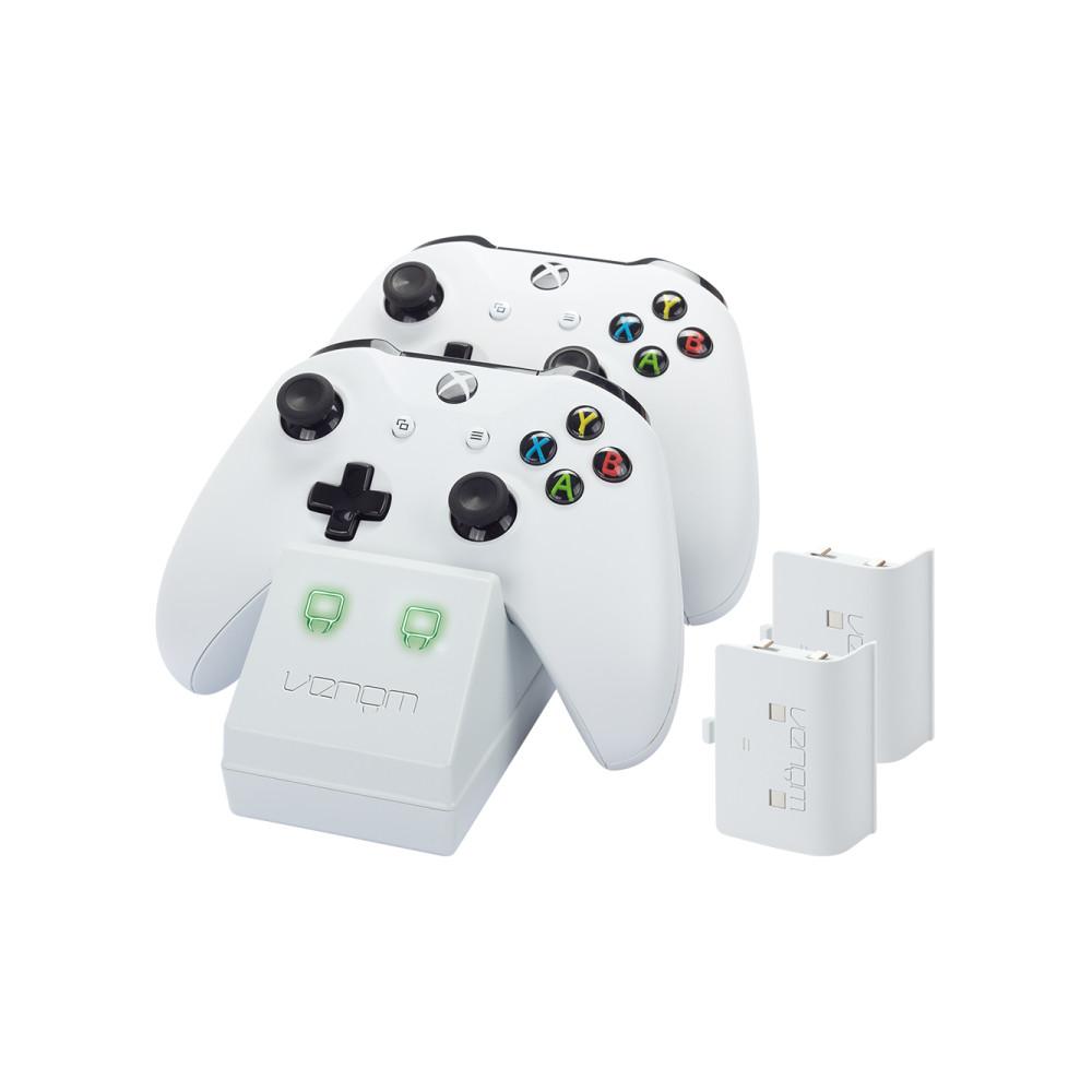 Statie de andocare pentru controlerele Xbox One combinata cu 2 baterii reincarcabile, Venom, Alb 0