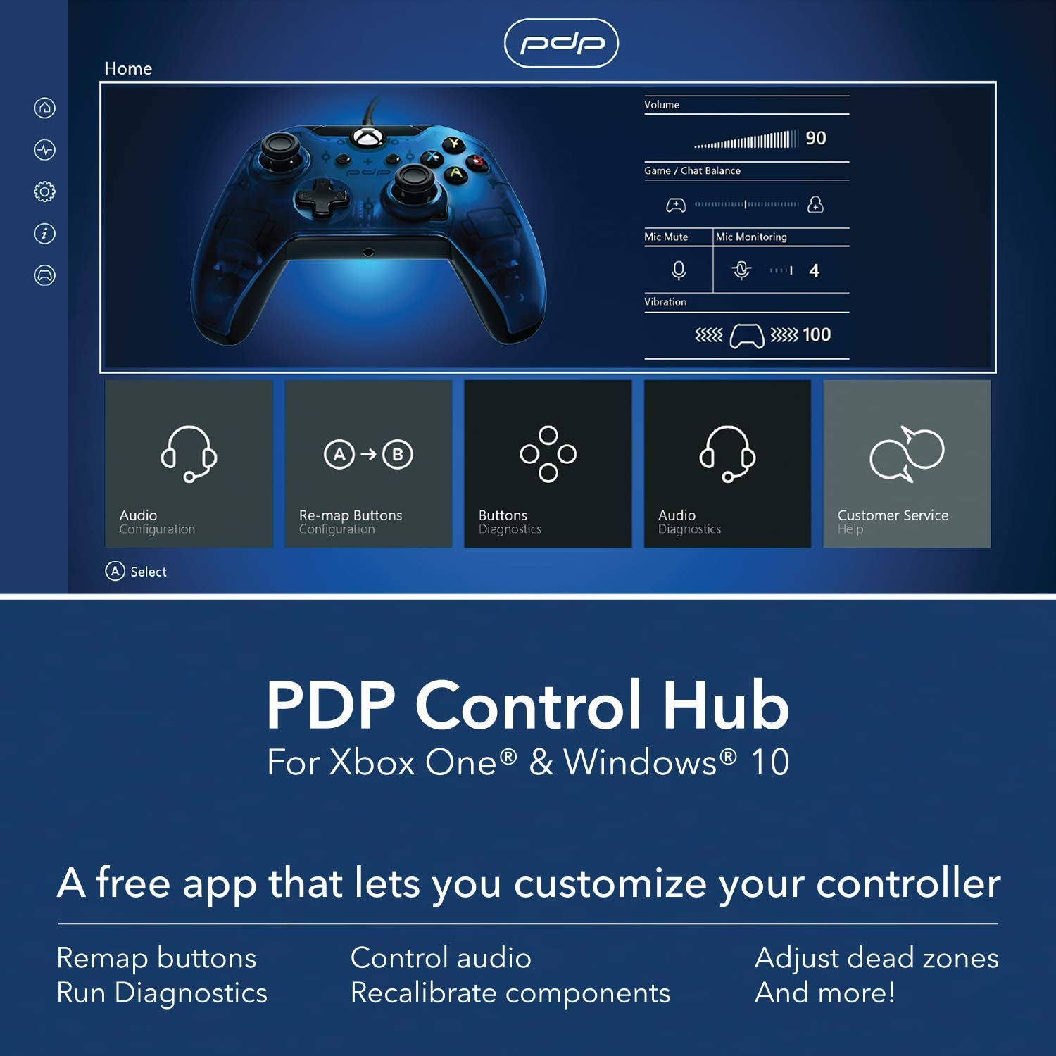 Controller PDP Wired Blue pentru Xbox One 5