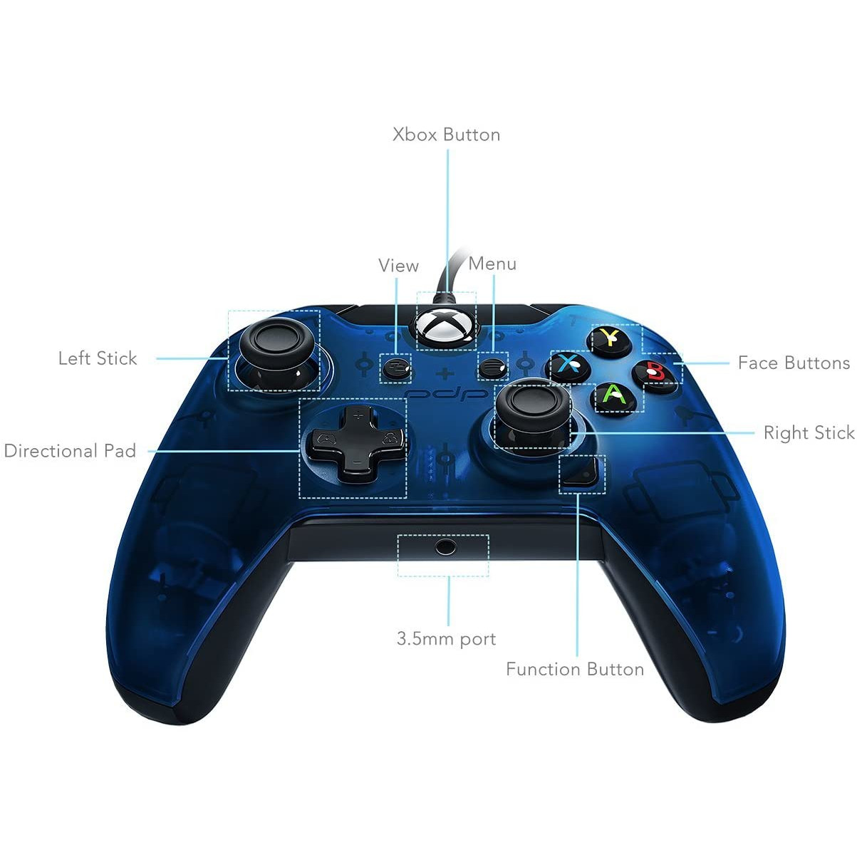 Controller PDP Wired Blue pentru Xbox One 4