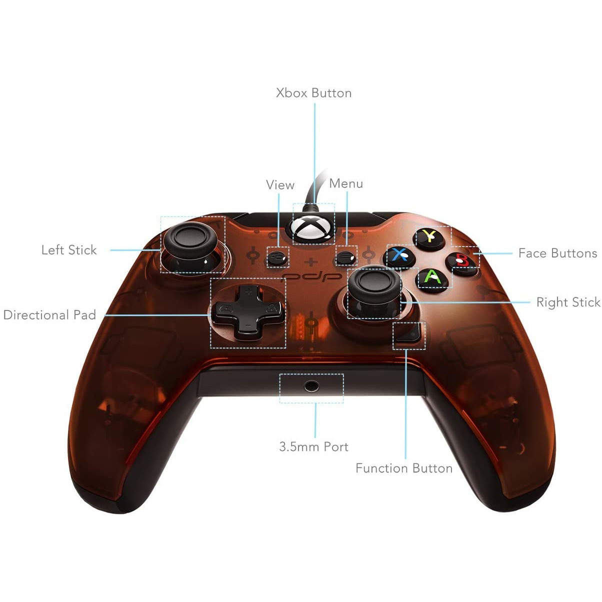 Controller Pdp Wired Orange Xbox One 4
