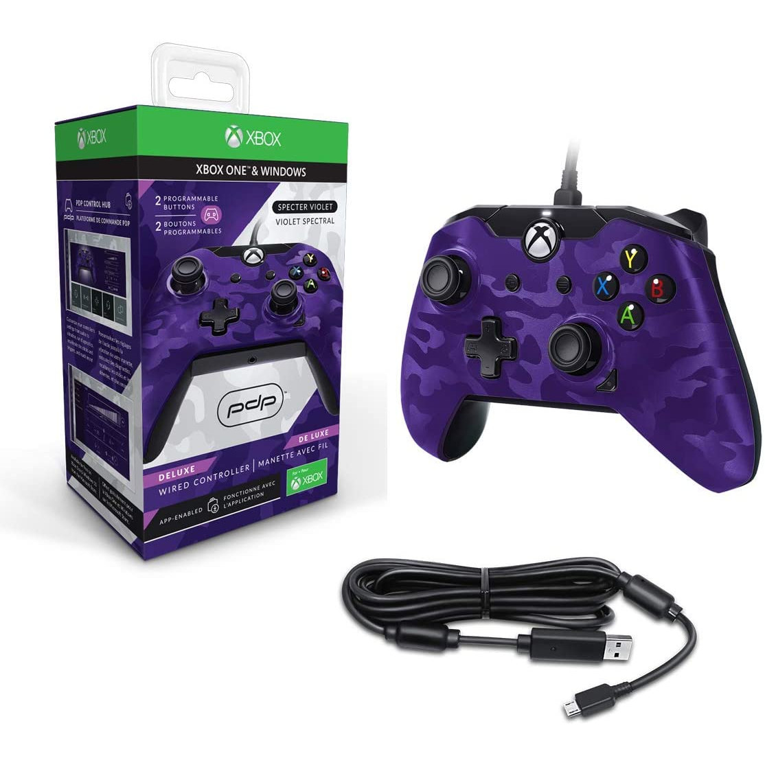 Controller Deluxe Wired Purple Camouflage Xbox One 2