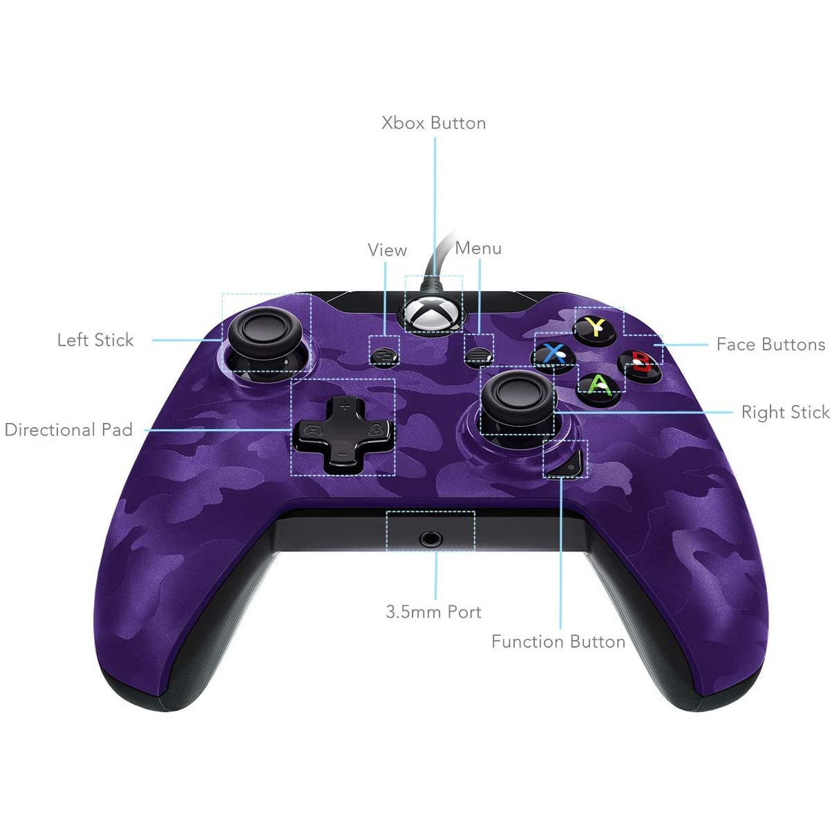 Controller Deluxe Wired Purple Camouflage Xbox One 4