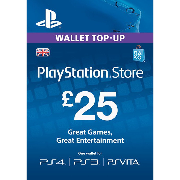 Card Playstation PSN 25 Lire pentru PS4, PS3, Ps Vita 0